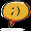 smiley face in speech bubble icon